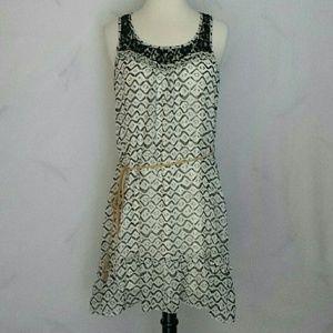 Ya Los Angeles Black / Off White Geometric Dress L